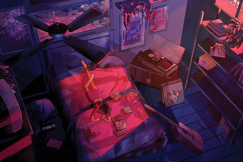 Ilustração de uma menina num quarto aconchegante, deitada na cama e ouvindo música.