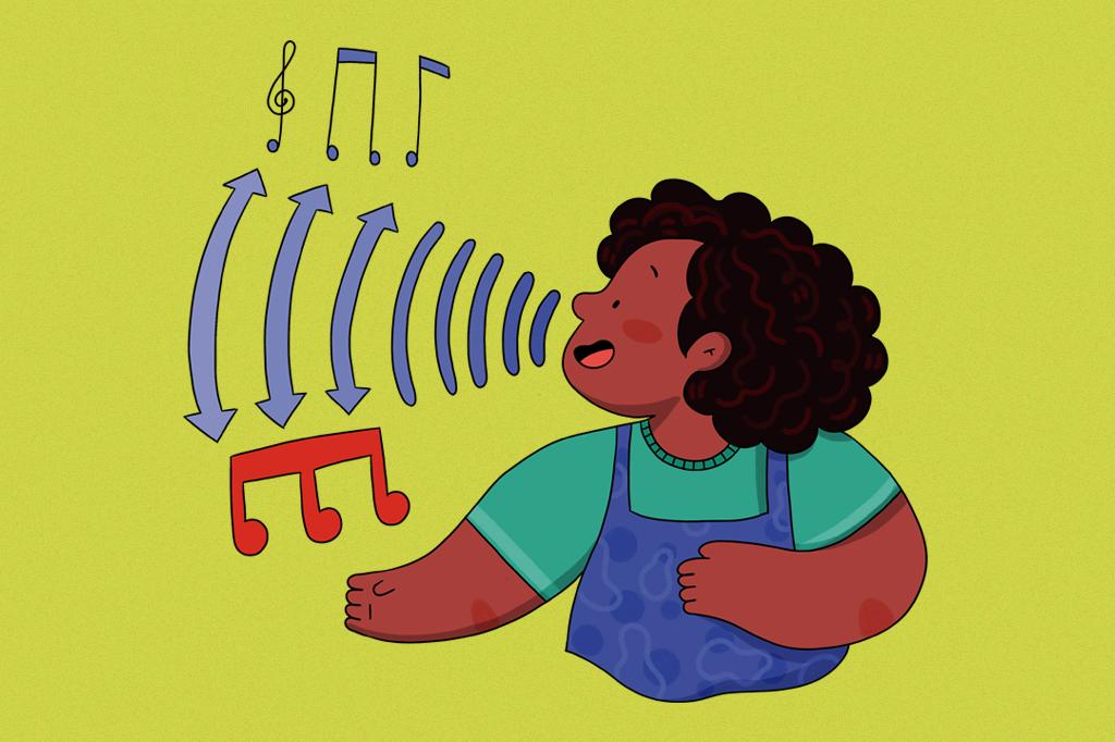 Ilustração de uma menina cantando.
