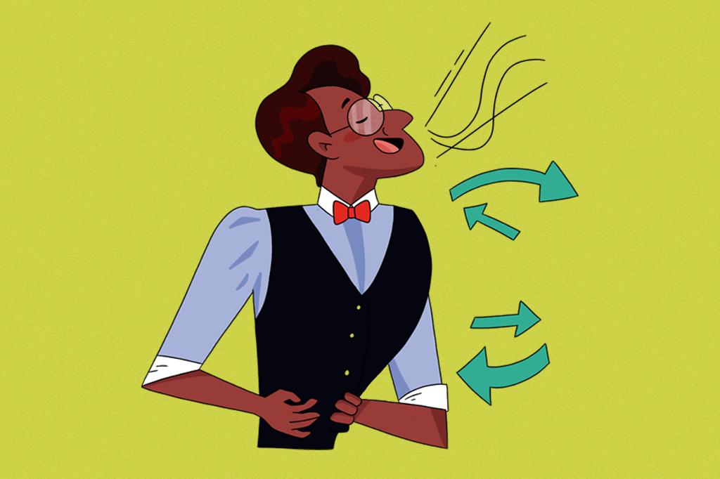 Ilustração de um homem respirando com o diafragma.
