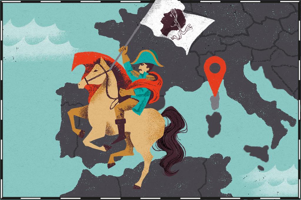 Ilustração de mapa com ilha da Córsega destacada e Napoleão ao lado.