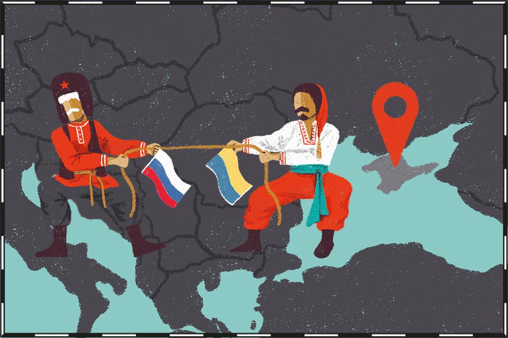 Ilustração de mapa com a região da Crimeia destacada e russo e ucraniano com trajes típicos disputando cabo de guerra ao lado.