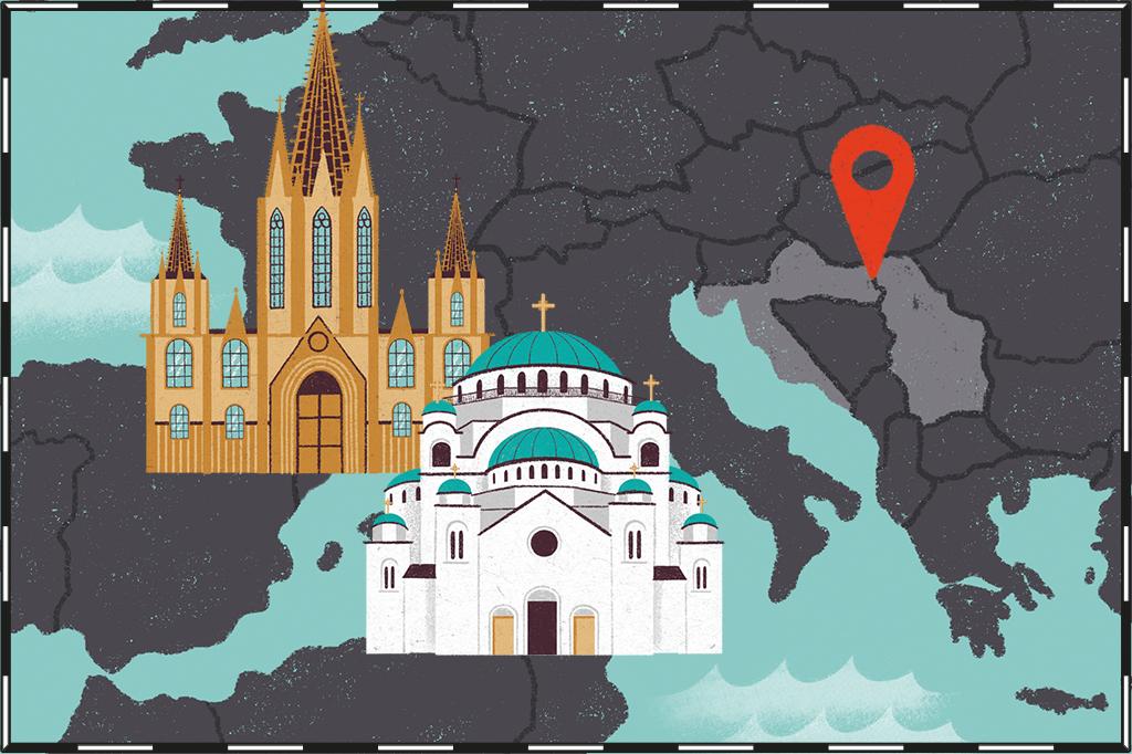 Ilustração de mapa com Sérvia e Croácia destacadas e igreja católica e ortodoxa ao lado.