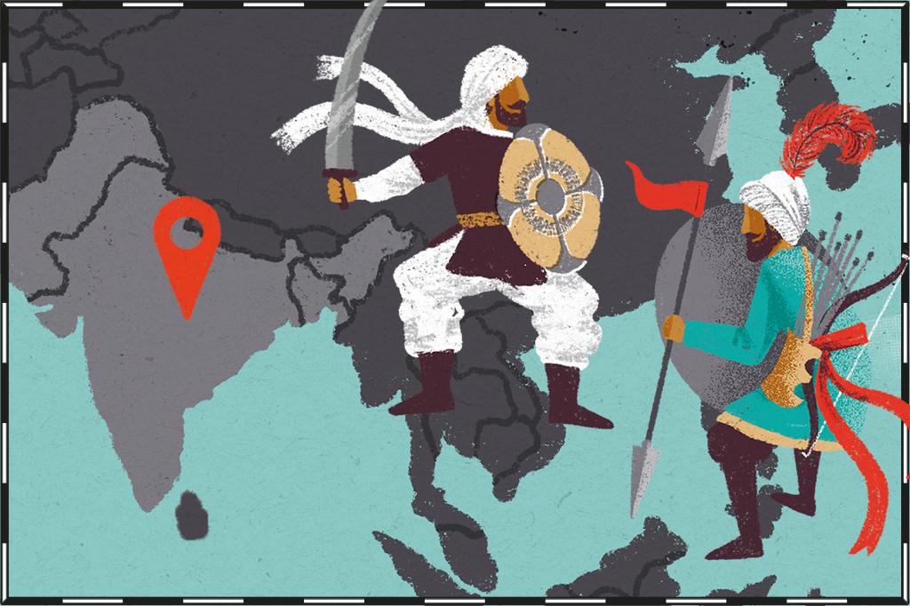 Ilustração de mapa com região da Índia, Paquistão e Bangladesh destacadas e guerreiros indiano e árabe se enfrentando ao lado.