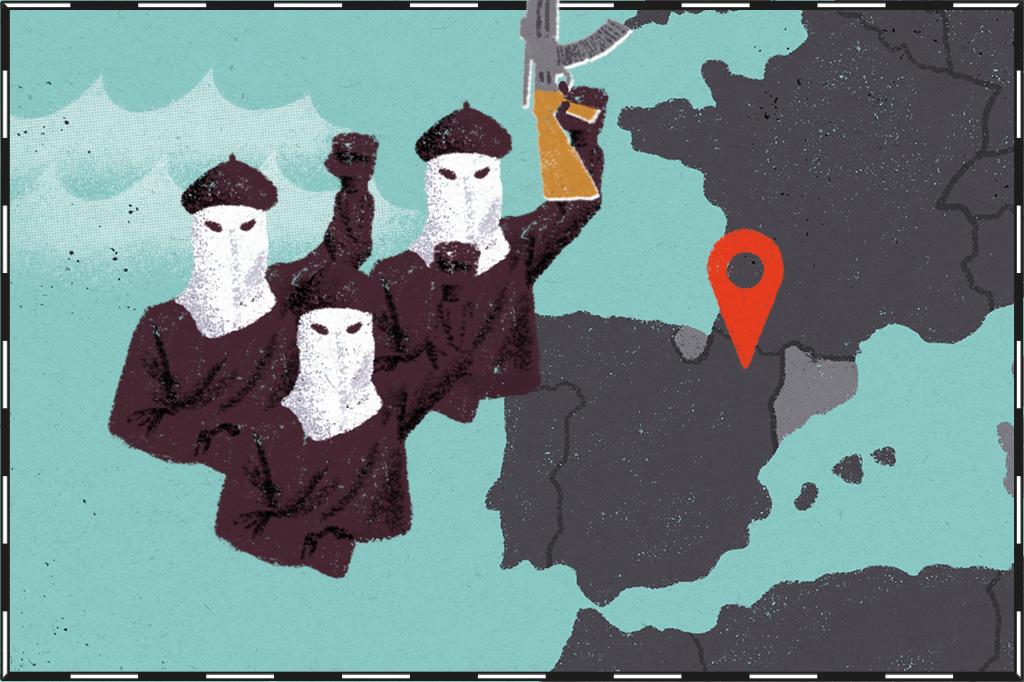 Ilustração de mapa com as regiões do País Basco e Catalunha destacadas e militantes do ETA ao lado.