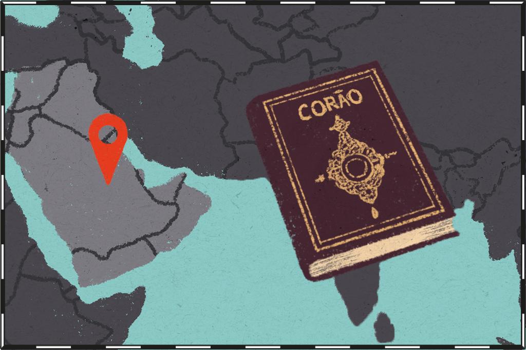 Ilustração de mapa com os países árabes destacados e o Corão ao lado.