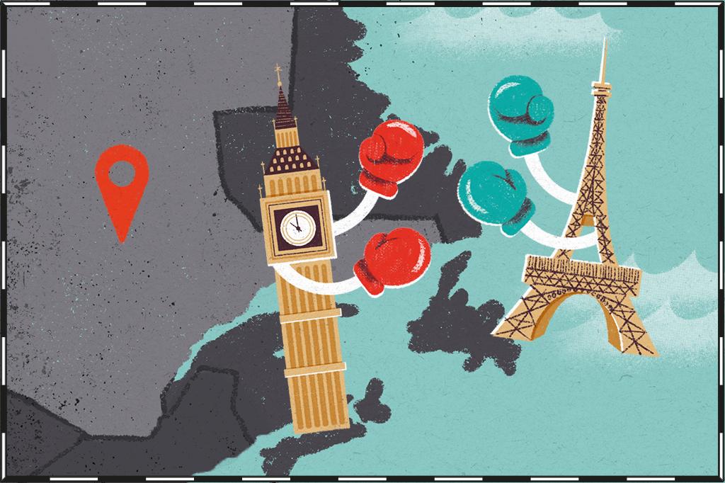Ilustração de mapa com região de Quebec destacada e o Big Ben e a Torre Eiffel lutando boxe ao lado.