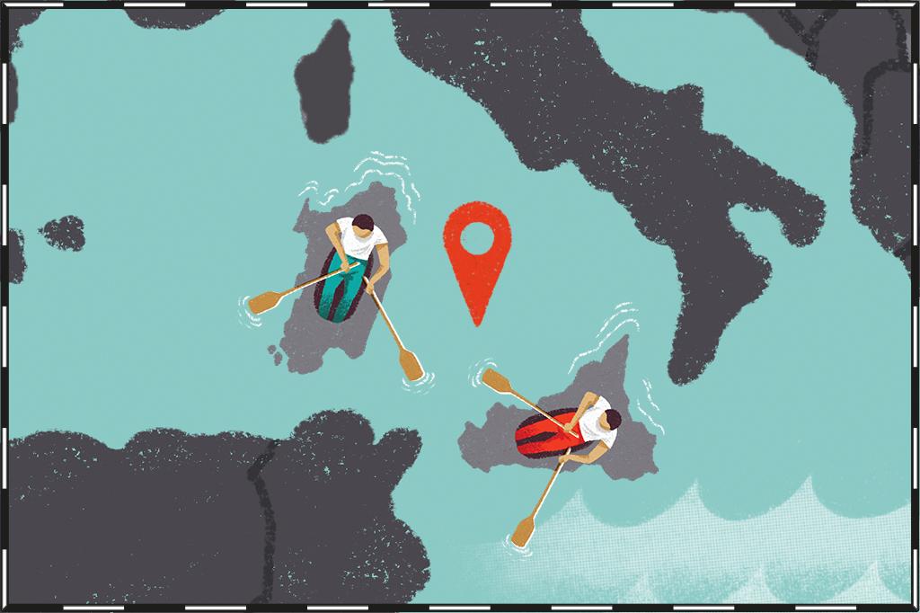 Ilustração de mapa com as ilhas da Sardenha e Sicília representadas como se fossem dois barcos se afastando da Itália.