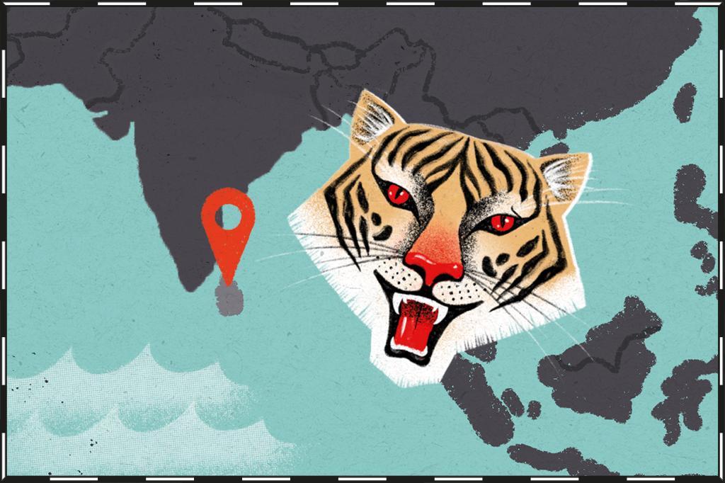 Ilustração de mapa com o Sri Lanka destacado e um tigre ao lado.