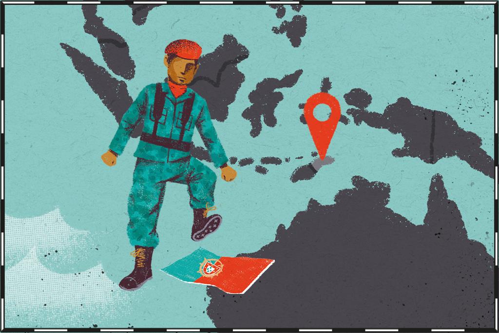 Ilustração de mapa com a região do Timor Leste destacada e um soldado pisando na bandeira de Portugal ao lado.