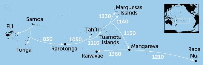 Gráfico sobre os horários e rotas das migrações dos primeiros polinésios.