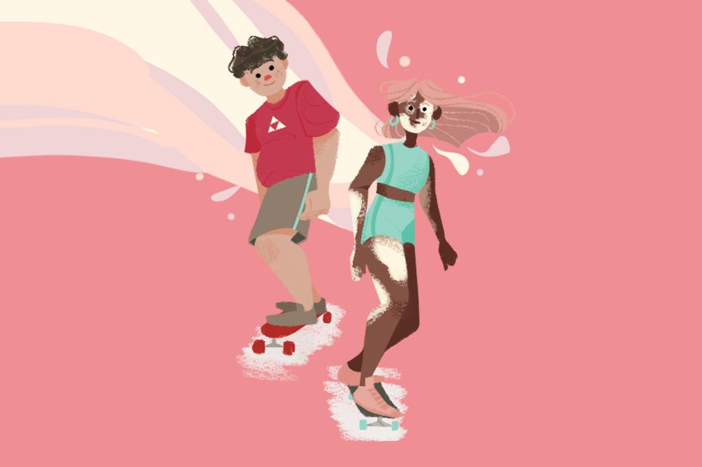 Ilustração de duas pessoas andando de skate. Uma delas com o pé direito na frente e a outra com o pé esquerdo.