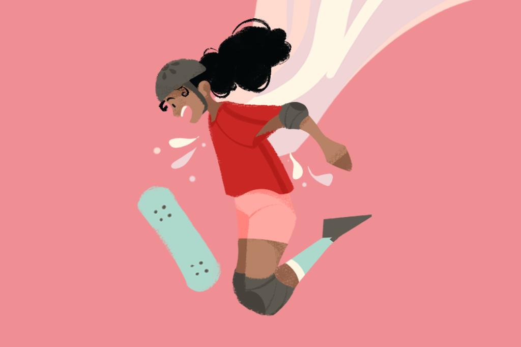 Ilustração de uma menina utilizando equipamentos de proteção e caindo do skate.