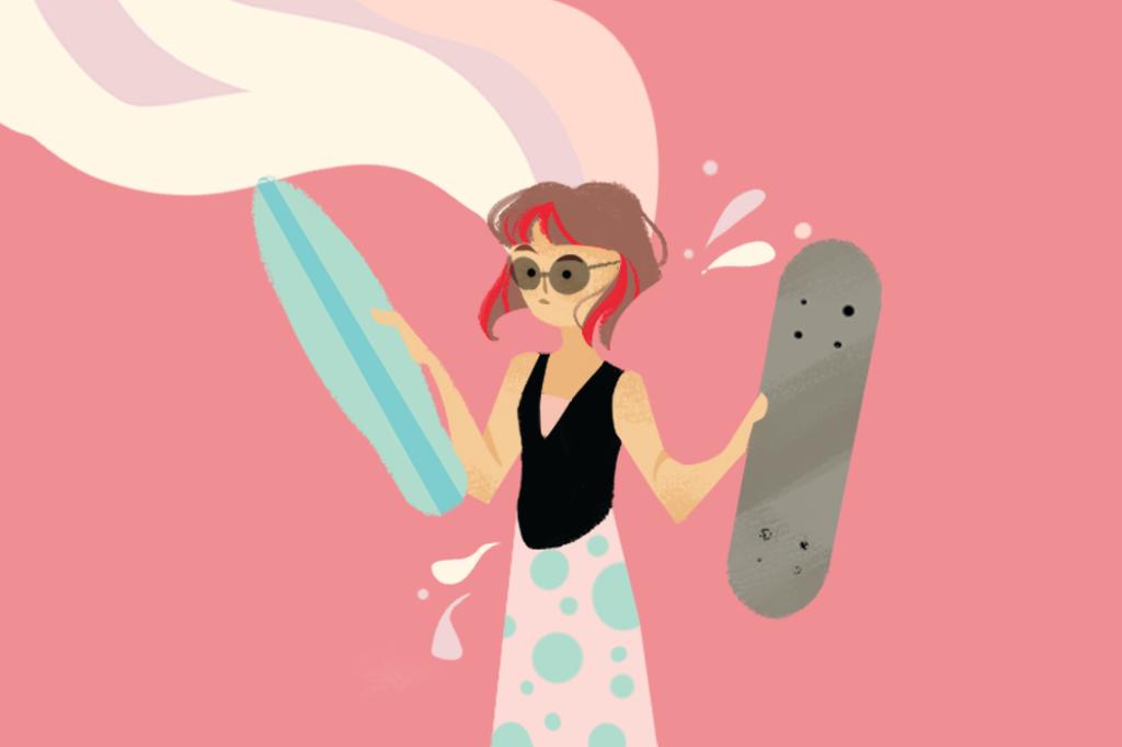 Ilustração de uma menina em dúvida entre dois skates.