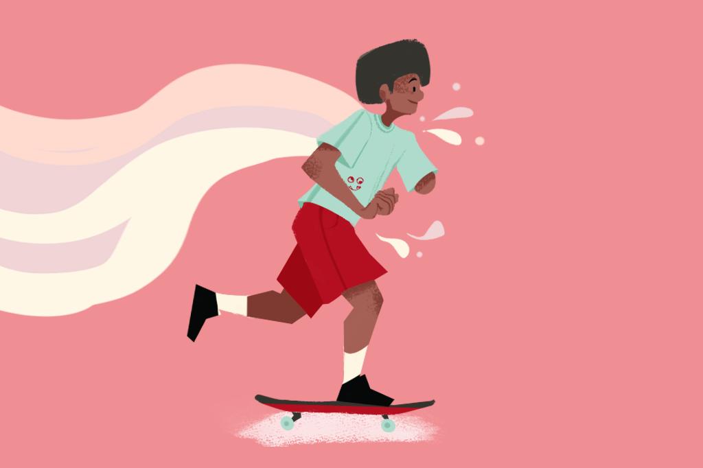 Ilustração de um homem remando com o skate.