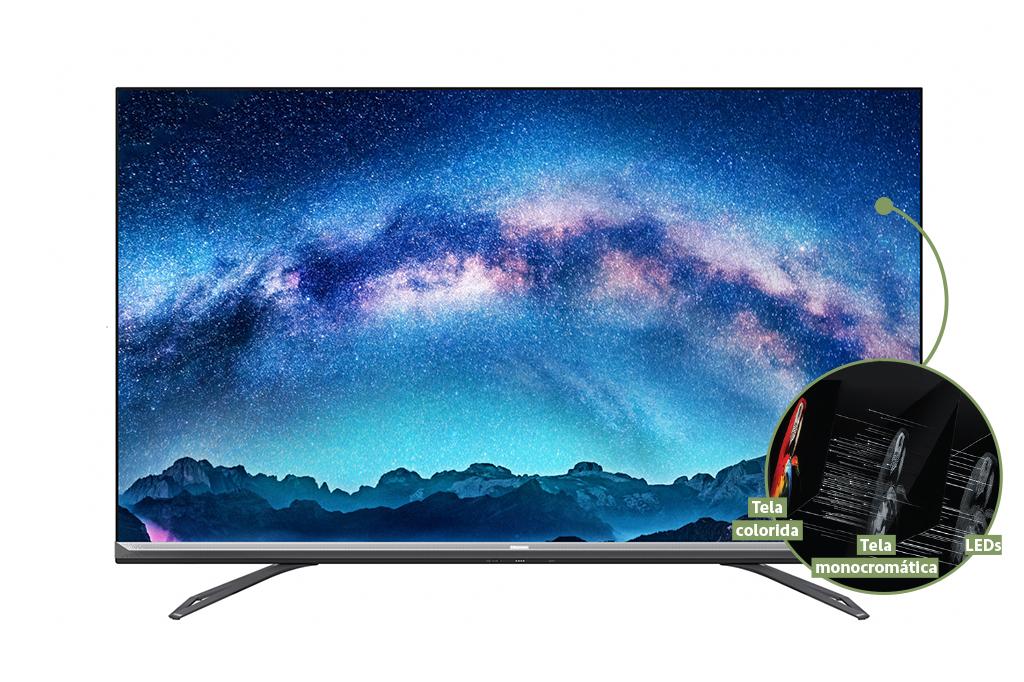 Foto da TV ULED Dual cell, com destaque para o funcionamento da tela.