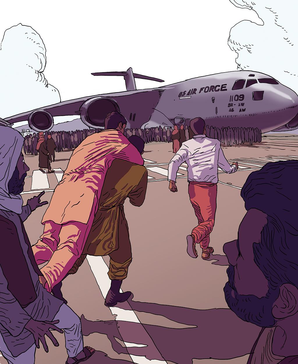 Ilustração mulhares de afegãos tentando fugir do país em avião militar americano.