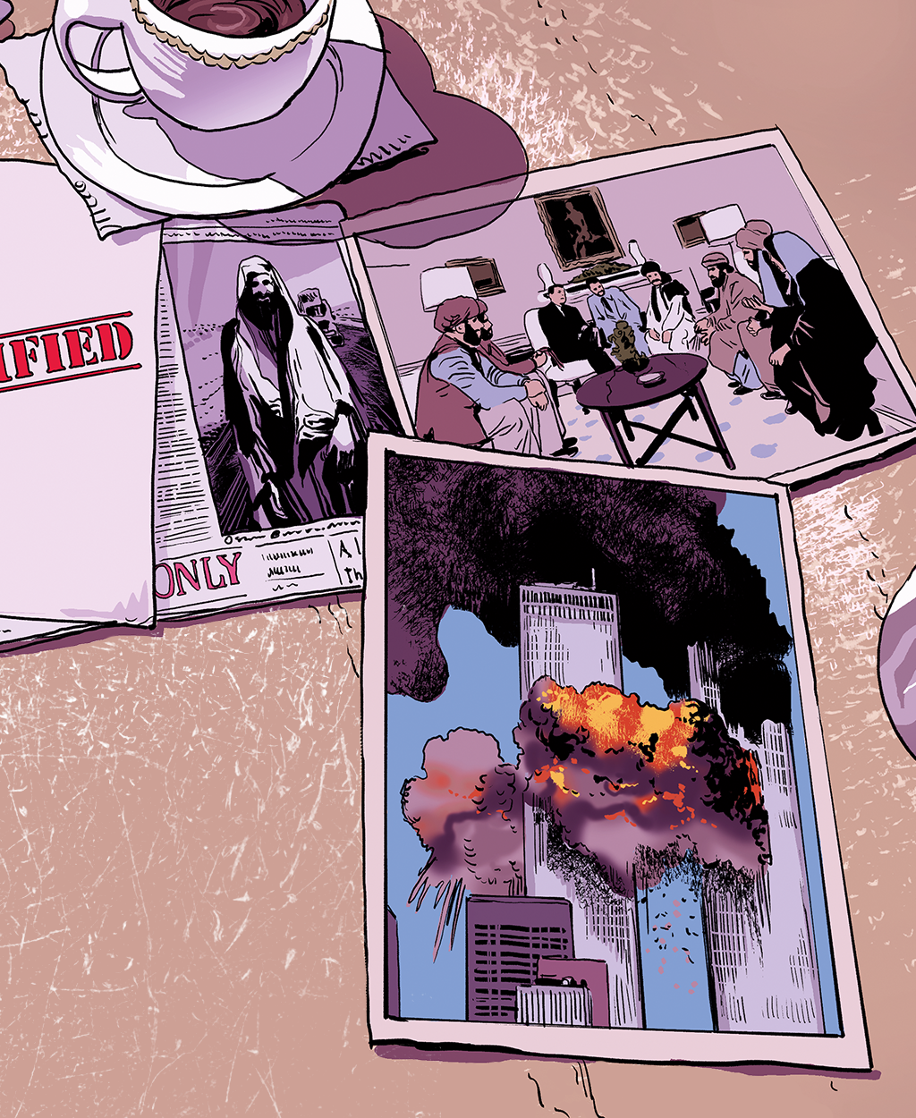 Ilustração com três recortes em cima de uma mesa: jornal exaltando Osama Bin Laden, uma foto de guerrilheiros sendo recebidos na Casa Branca e outra do ataque ao World Trade Center.