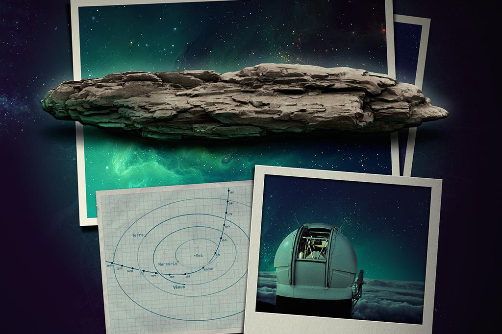 <strong>Clique na imagem para ampliar.</strong> Trajetória do Oumuamua, que passou pelo nosso sistema solar (acima), e o telescópio Pan-Starrs, no Havaí, primeiro a detectar o objeto (à dir.).