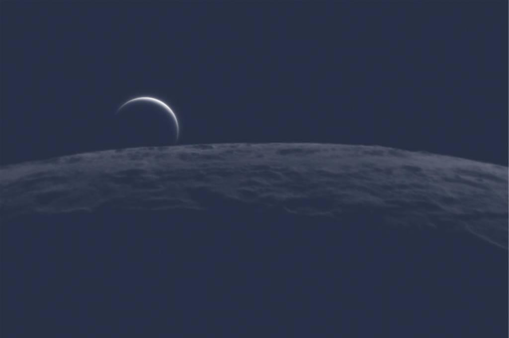 Foto de Vênus pouco antes de ser ocultada pela Lua