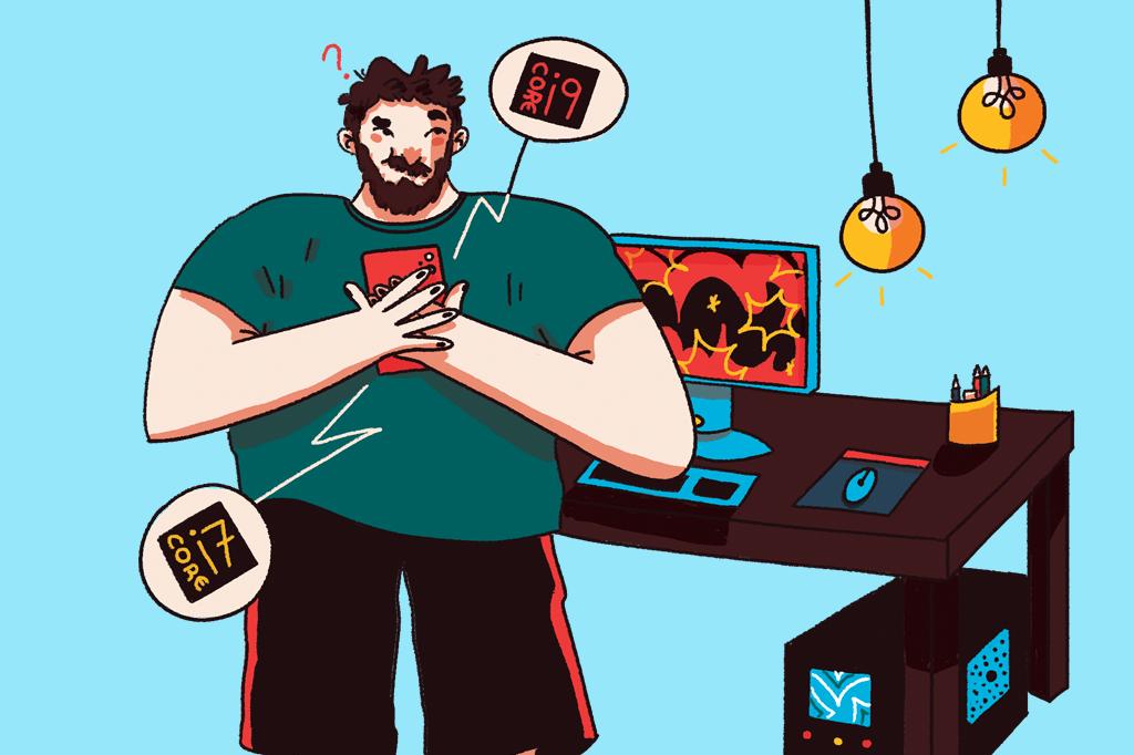 Ilustração de um homem indeciso entre dois processadores diferentes para o computador.