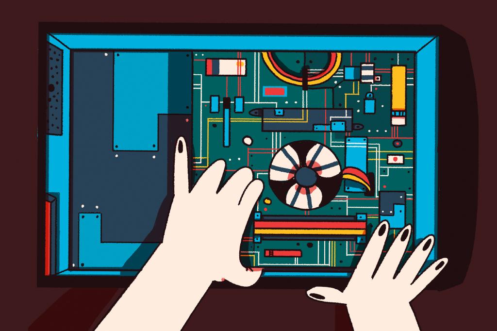 Ilustração da placa mãe de um computador.
