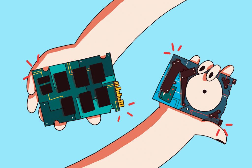 Ilustração de um HD e de um SSD.