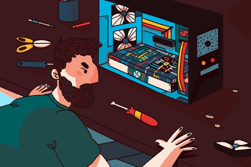 Ilustração de um homem montando as peças na CPU do computador.