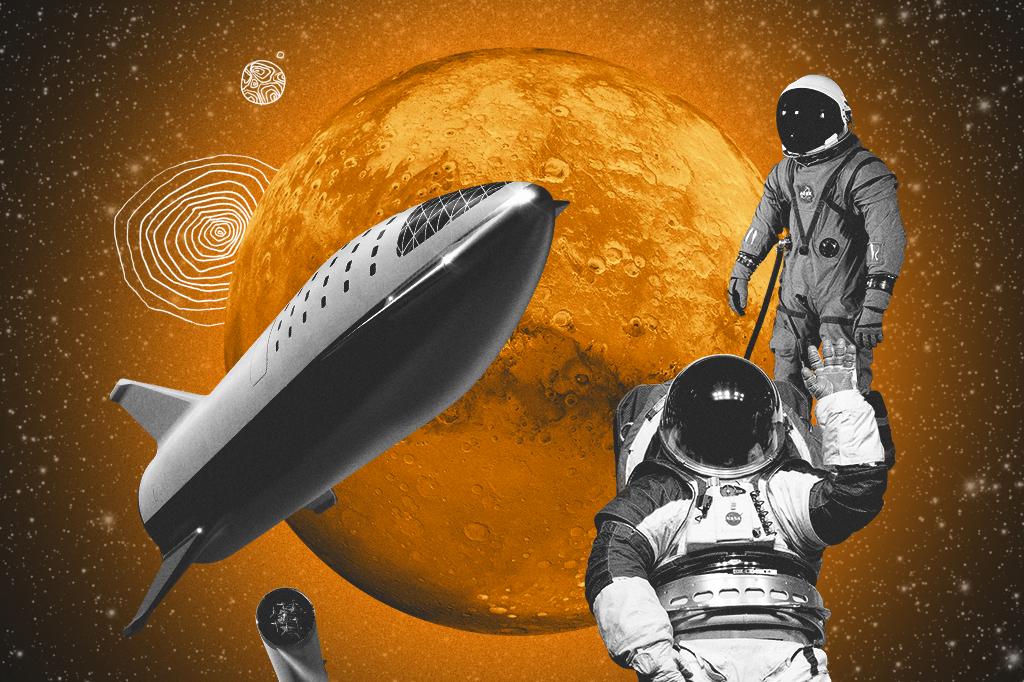 Colagem com a imagem dos trajes espaciais e o foguete Starship, da SpaceX, que vai ser utilizado na missão a Marte.